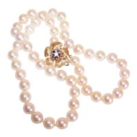 "18"" Single Strand 6.5mm x 7mm Cultured Pearl Necklace with Modernist 14K Gold Sapphire Diamond Clasp"