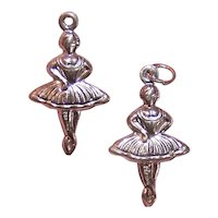 2 Vintage Sterling Silver Charms - Ballerinas