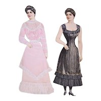 Boston 1890s Sunday Boston Herald Antique Victorian Paper Dolls - Lady Alone and Clothed Lady
