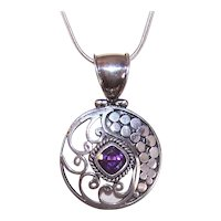 Sterling Silver Amethyst Pendant with Snake Chain Necklace