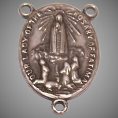 Vintage Sterling Silver Our Lady of Fatima Rosary Center Medal
