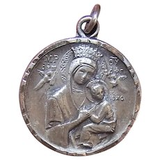 Vintage Religious Sterling Silver Medal Charm Pendant Our Lady of Perpetual Help