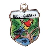 Silverplate Enamel Travel Shield Charm Busch Gardens