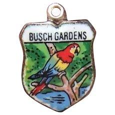 Vintage Silver Enamel Travel Shield Charm Busch Gardens