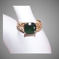 Sterling Silver Vermeil Green Cubic Zirconia/CZ Cocktail Ring