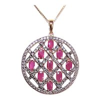 Ross Simons Sterling Silver Ruby Diamond Pendant with Chain