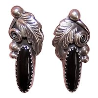 Native American Sterling Silver Black Onyx Earrings