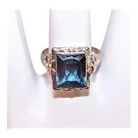 Art Deco 10K Gold Blue Topaz Ring - White Gold Filigree Ring with Rose Gold Accents