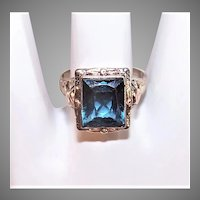 Art Deco 10K White Gold Blue Topaz Filigree Ring