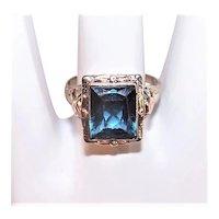 Art Deco 10K White Gold Blue Topaz Filigree Ring rose Gold Accents