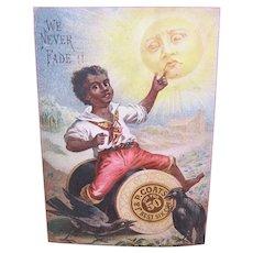 J&P Coats Fast Black Spool Cotton - Little Black Boy Riding Thread - Black Americana - Victorian Trade Card