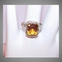 Art Deco 10K Gold Citrine Filigree Ring