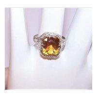 Art Deco 10K Gold Citrine Ring - White Gold Filigree Setting - Size 6