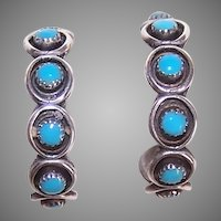 Native American Sterling Silver Turquoise Hoop Earrings