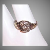 Art Deco 14K Gold Diamond Filigree Engagement Ring | Yellow Gold Floral Sides