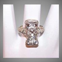 Art Deco 14K Gold Crystal Filigree Ring Basket of Flowers Sides