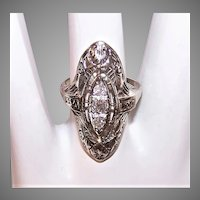 Art Deco 14K Gold .37CT TW Diamond Filigree Navette Ring