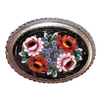Vintage Made in Italy Micromosaic Glass Tessarae Silver Tone Metal Pin Brooch - A Mass of Flowers