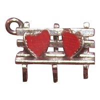 Vintage Sterling Silver Enamel Charm - 2 Hearts on a Park Bench