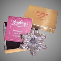 2000 Gorham Millenium Sterling Silver Snowflake Ornament w/Box, Pouch, Papers
