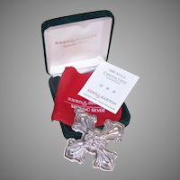 2000 Reed & Barton Christmas Cross Sterling Silver Ornament - Box, Papers, Bag