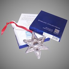 2002 Lunt Sterling Silver Christmas Star Ornament with Box, Papers, Pouch