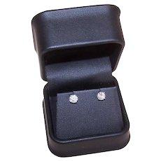Estate 14K Gold 1.18CT TW Diamond Earrings SI1, Color M-N