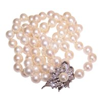 "Estate 30"" 9mm x 9mm Cultured Pearl Necklace with 14K Gold .15CT TW Diamond Clasp Pendant"