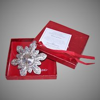 2000 Wallace Sterling Silver Christmas Ornament with Box, Papers, Pouch