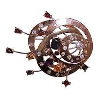 H Stern Copernicus 14K 18K Gold 8.55CT TW Diamond Multi Gemstone Pin