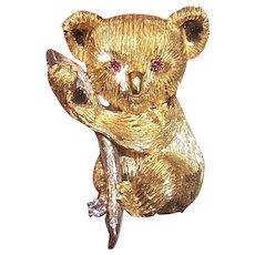 Estate 18K Gold Ruby Diamond Pin - Koala Bear Clinging to Branch