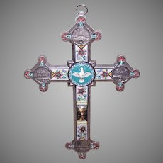 Vintage Italian Micromosaic Chrome Wall Cross from Rome