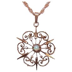 Antique Victorian 14K Gold Opal Starburst Pendant