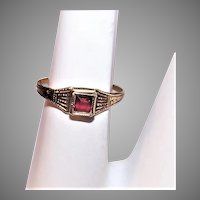 Vintage 10K Gold Baby Ring With Red Stone   July Ruby Birthstone