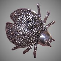 Sterling Silver Marcasite Beetle Pin - Wings Move