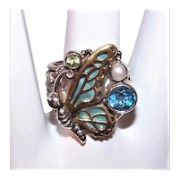 Margaret Thurman Sterling Silver Bronze Gemstone Butterfly Ring