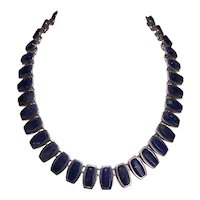 Vintage Mexican Sterling Silver Lapis Lazuli Necklace