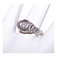 Art Deco 18K Gold .25CT Diamond European Cut Filigree Engagement Ring