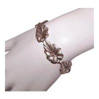 Danecraft Sterling Silver Single Leaf Link Bracelet