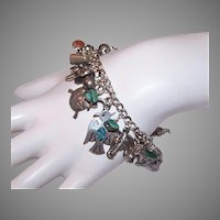 Vintage Sterling Silver Charm Bracelet with 30 Western Design Charms