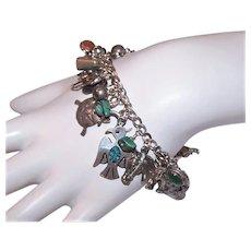 Vintage Sterling Silver Charm Bracelet with 30 Western Design Charms