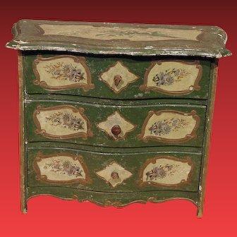 ** Wooden Green decorated Miniature **Dresser