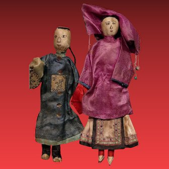 *** Early pair Of Silk Chinese Dolls ***