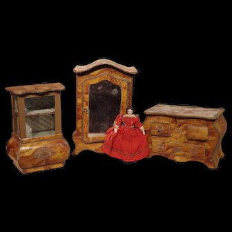 ** Great 4 Pieces of Cardboard Furnture 1880 Mignonette***