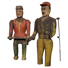 ** Two Primitive Wooden Figures ***