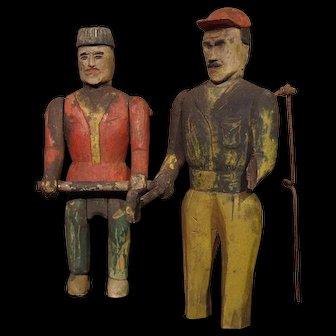 ** Two Primitive Wooden Figures ***
