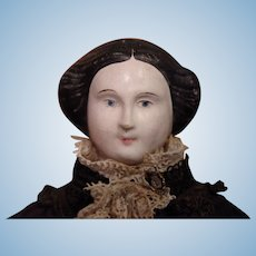 ** Early Molded Hair French Papier Mache Doll 1840***