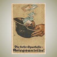 Lithographed Postcard The best saving war Bonds from WWI Period