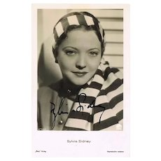 Sylvia Sidney Autograph on old Ross Photo