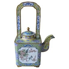 Old Chinese Enamel Wine Pot Flower Motifs.